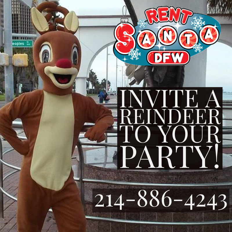reindeer characters, reindeer for Christmas party, holiday reindeer, Rudolf for parties, fun holiday party ideas, Dallas Christmas ideas, holiday characters, richardson, plano, frisco, southlake, grapevine, arlington, fort worth, dfw, rent santa dallas texas, dallas santa rental, santa for hire, dallas texas